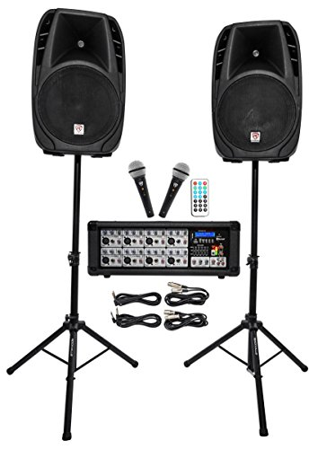Rockville RPG2X15 Package PA System Mixer/Amp+15″ Speakers+Stands+Mics+Bluetooth