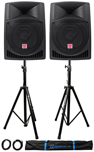 Pair Rockville RPG12 12″ 1600w Powered PA/DJ Speakers + 2 Stands + 2 Cables+Bag
