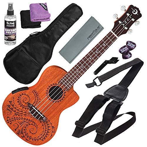 Luna Tattoo Acoustic-Electric Concert Ukulele with Gigbag and Basic Accessory Bundle