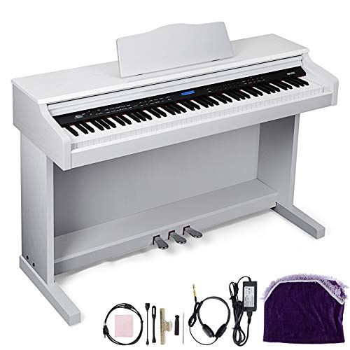 Happybuy White Digital Piano 88-Key Electric Piano Keyboard w/ 3-Pedal Board Music Stand Slide Cover for Beginner/Adults (A-W/Stand +3-Pedal+Adapter, White Without Bench)