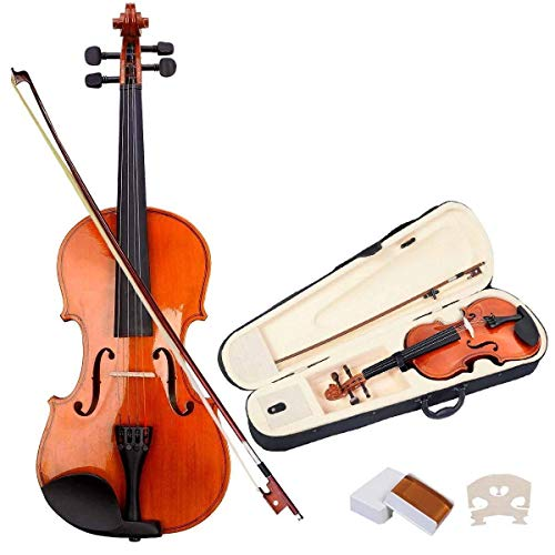 Goplus 4/4 Full Size Acoustic Violin Durable Natural Solid Wood Fiddle for Beginners and Students w/Case, Bow and Rosin(Burlywood)