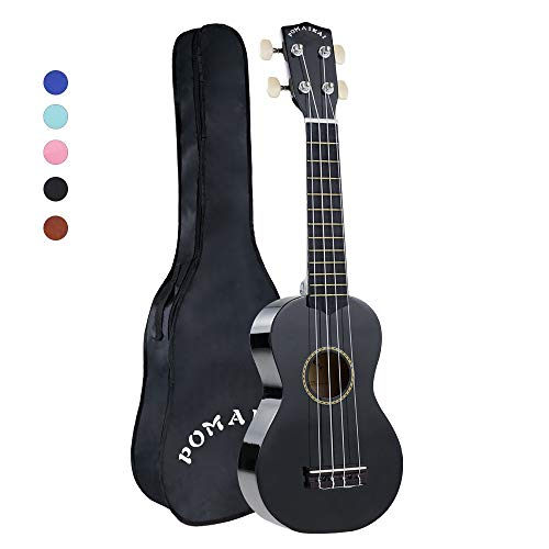 POMAIKAI Soprano Wood Ukulele Rainbow Starter Uke Hawaii kids Guitar 21 Inch with Gig Bag for kids Students and Beginners (Black)