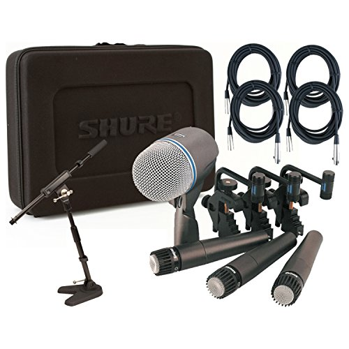 Shure DMK57-52 Drum Mic Kit w/(3) SM57 (1) Beta 52 (4) 20′ XLR Cables, 1 Mini Boom, 3 Clips, and Case
