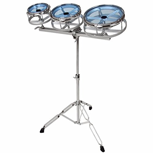 GP Percussion RT68 Tunable Roto Tom Drum Set with Adjustable Double Braced Floor Stand, Adjustable Track, Plated Counterhoop, Drum Key, and Drumsticks – Quick Pitch Shift Drums