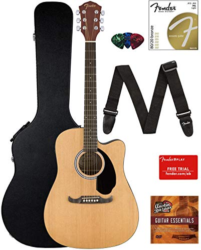 Fender FA-125CE Dreadnought Cutaway Acoustic-Electric Guitar – Natural Bundle with Hard Case, Strap, Strings, Picks, Fender Play Online Lessons, and Austin Bazaar Instructional DVD