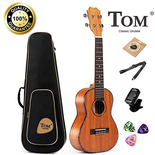 Concert Ukulele, 23 inch Professional Tom Ukulele Bundle with Mahogany Gig Bag Tuner Strap Backup String Picks and Instruction Booklet Starter Kit Hawaiian Guitar Best Ukulele Pack for Beginner