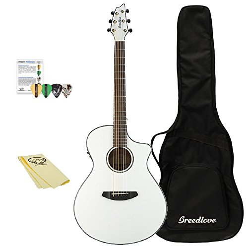 Breedlove Discovery Series 6-String Concertina Sitka-Mahogany Acoustic Guitar with ChromaCast 12 Pick Sampler and Polish Cloth, Right Handed, Sunburst(DSCA14SSMA-KIT-1)