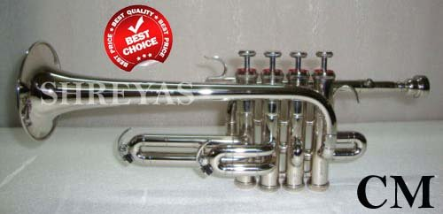 SHREYAS Bb/A Silver Nickel Piccolo Trumpet With Free Case+Mouthpiece