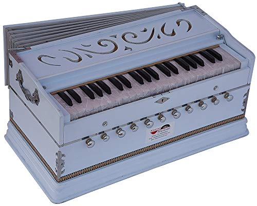 Harmonium White Pro Grade By Kaayna Musicals, 11 Stop- 6 Main & 5 Drone, 3½ Octaves, Coupler, Gig Bag, Bass/Male Reed Tuned- 440 Hz, Suitable for Peace, Yoga, Bhajan, Kirtan, Shruti, Mantra, etc