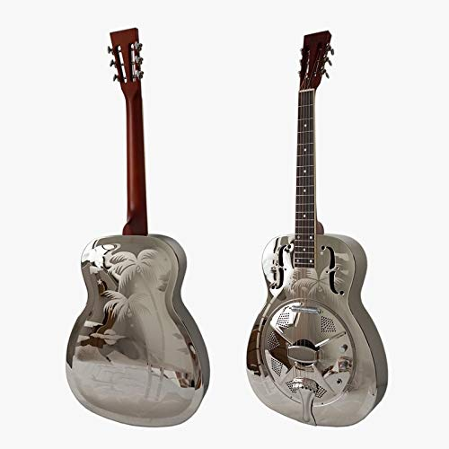 Hawaii Tree Palm Pattern Bell Brass Electric Resonator Guitar With Case and Strap