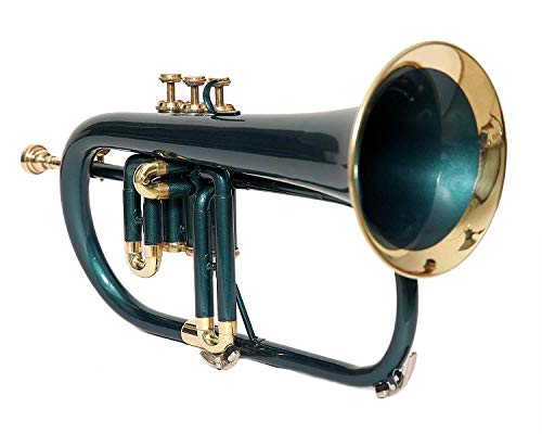 CHEAPEST OFFER FlugelHorn Bb Pitch With Free Hard Case And Mouthpiece, Green Lacquered