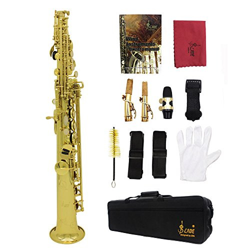 Festnight Soprano Saxophone, Bb Brass Lacquered Sax Wind Instrument with Accessories