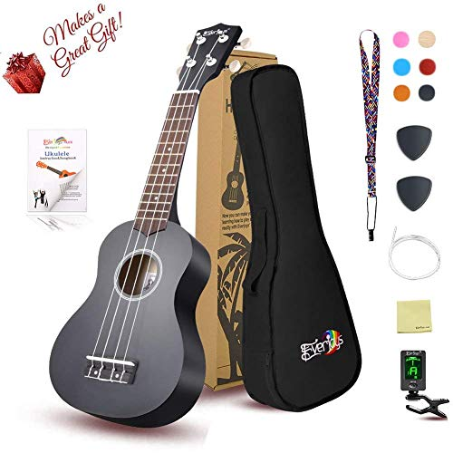 Soprano Ukulele Beginner Pack-21 Inch w/ Gig Bag Fast Learn Songbook Digital Tuner All in One Kit Black