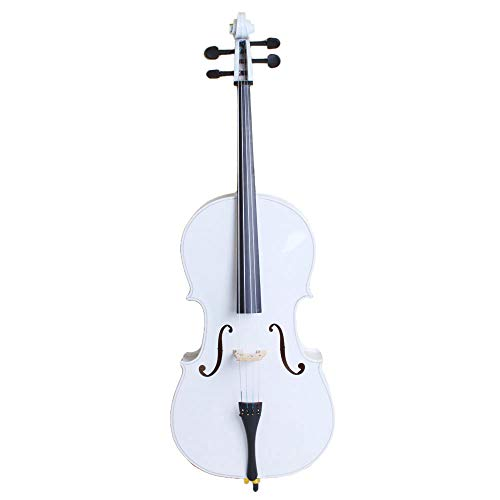4/4 Acoustic Cello + Case + Bow + Rosin Wood Color Beautiful Varnish Finishing (White)