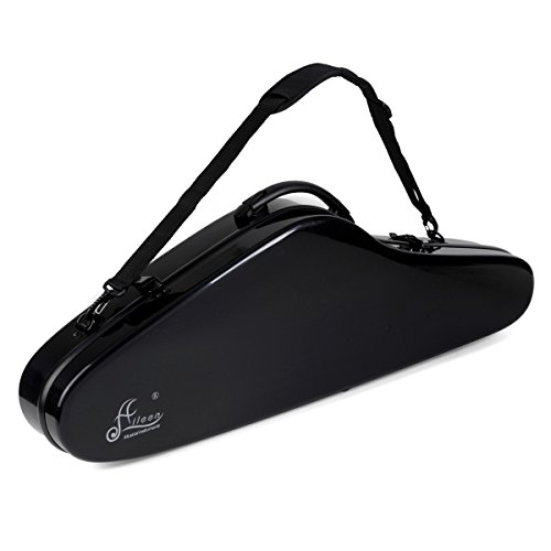 "Violin Hard Case Aileen 4/4 Full Size Luxury Fiberglass with Hygrometer Suspension, 4 Colors,""Air"" Series (Black)"
