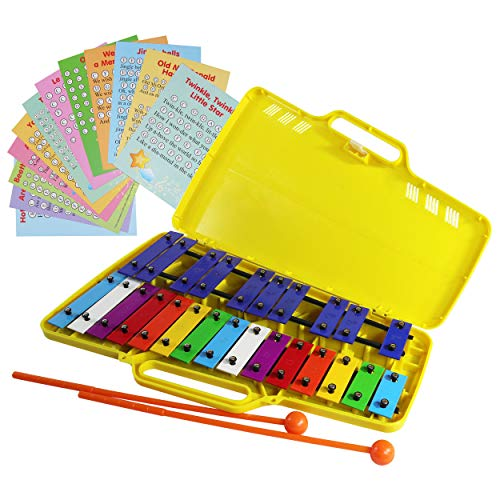 Xylophone Glockenspiel 25 Note Chromatic Xylophone in a Yellow Plastic Case – 12 Letter-Coded Sheet Music Cards with 23 Songs -17 Color-Coded Song E-book