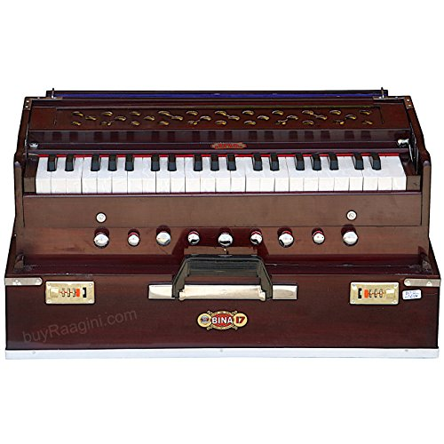 Harmonium BINA No. 17 Delux, In USA, Folding, Special Double Reed, Safri, Kirtan, 9 Stops, Rosewood Color, Coupler, Comes with Book and Nylon Bag (PDI-AGG)