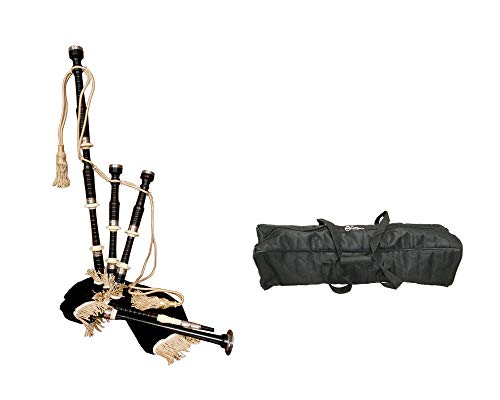 Bagpipes Package Includes:Pro Quality Full Size Ebony Bagpipes Set W/Black Cover & Rexine Bag, Extras + Full Size Bagpipes Set Nylon Carrying Bag Case