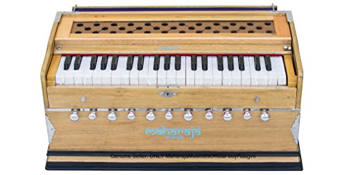 Maharaja Musicals Harmonium, 11 Stops, In USA, 3 1/2 Octave, Double Reed, Coupler, Natural Color, Standard, Padded Bag, A440 Tuned, Blemished, Harmonium Indian Musical Instrument (PDI-AAE)