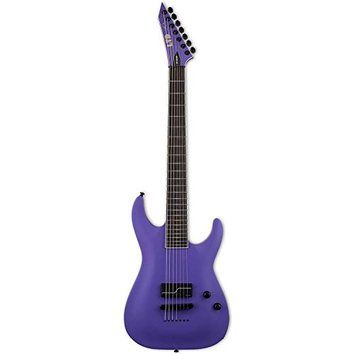 ESP LTD SC-607 Stephen Carpenter Baritone 1-Hum Electric Guitar with Case, Purple Satin