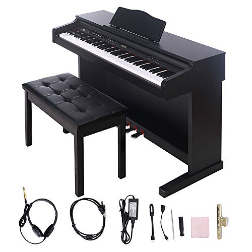 Digital Piano,Les Ailes de la Voix 88 Key Electric Piano Portable for Beginner Adults with Bench,3 Pedal Board,Music Stand,Power Adapter, Headphone,Instruction Book Black
