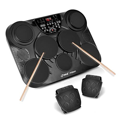 PylePro Portable Drums, Tabletop Drum Set, 7 Pad Digital Drum Kit, Touch Sensitivity, Wireless Electric Drums, Drum Machine, Electric Drum Pads, LED Display, Mac & PC (PTED01) (Renewed)