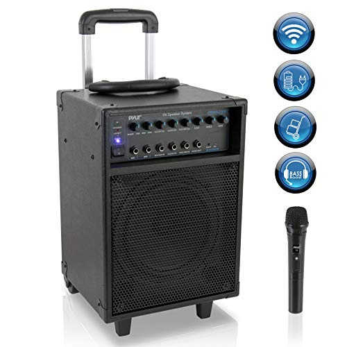 Wireless Portable PA Speaker System – 400W Bluetooth Compatible Rechargeable Battery Powered Outdoor Sound Stereo Speaker Microphone Set w/ Handle, Wheels – 1/4″ to AUX, RCA Cable – Pyle PWMA230BT
