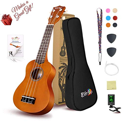 Soprano Ukulele Beginner Pack-21 Inch w/ Gig Bag Fast Learn Songbook Digital Tuner All in One Kit Honey