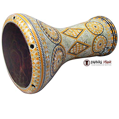 """The Orange Sun"" Gawharet El Fan Darbuka 17″ Drum With REMO Orange Mist Drum Head"