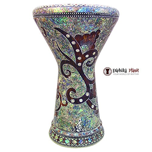 "The""Magic Garden"" Gawharet El Fan 18.5″ Darbuka Doumbek Drum Sombaty Size With Real Blue Mother of Pearl"