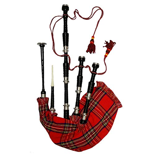 TRAD NYC Scottish Great Highland Bagpipes Black Finish with Plain Silver Mounts + Carrying Case + Tutor Book + Royal Stewart