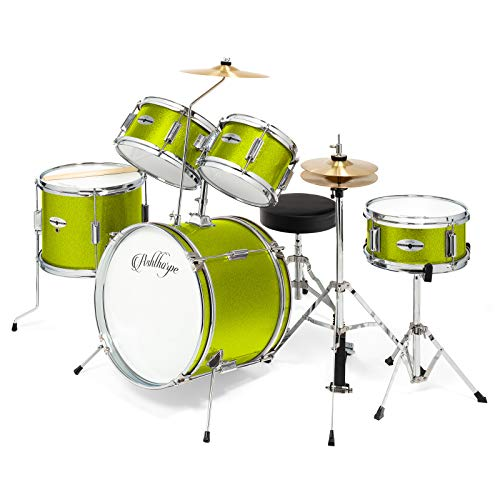 Ashthorpe 5-Piece Complete Kid's Junior Drum Set with Genuine Brass Cymbals – Children's Advanced Beginner Kit with 16″ Bass, Adjustable Throne, Cymbals, Hi-Hats, Pedals & Drumsticks – Green