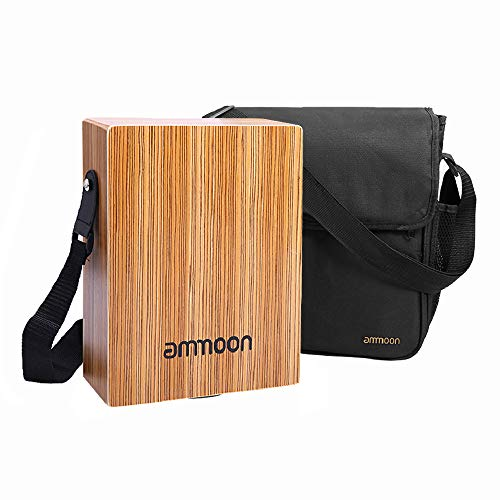 ammoon Cajon Box Drum Stringed Persussion Instrument with Bag, Shoulder Strap (Portable Cajon)