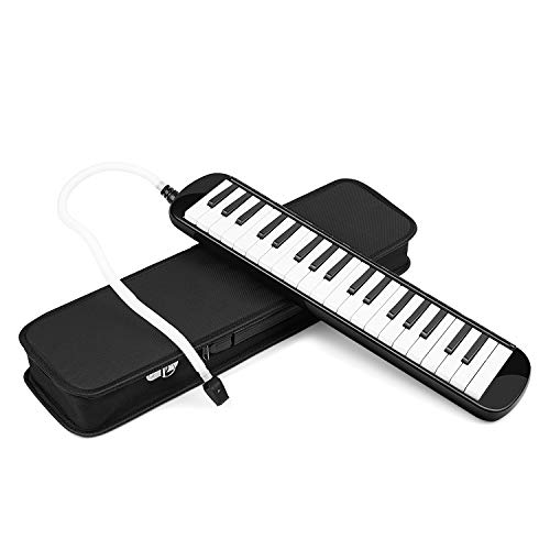 Flexzion Melodica 37 Piano Keys – Melodica Keyboard with Mouthpiece Tube, Portable Musical Instrument Pianica Melodicas Piano Style with Carrying Bag (37 Key) (Black)