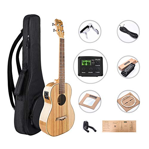Caramel CB103 30 Inch High Gloss Zebra Wood Baritone Acoustic Electric Ukulele with Truss Rod with D-G-B-E strings & free G-C-E-A strings, Padded Gig Bag, Strap and EQ cable