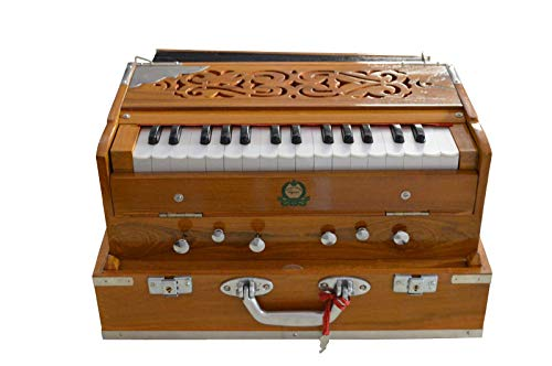 Monoj K Sardar MKS, Harmonium, In USA, Concert Quality, Folding, Special Double Reed, Natural Color, 6 Stop, 2 1/2 Octaves, Padded Bag, Book, Musical Instrument Indian (PDI-FEI)