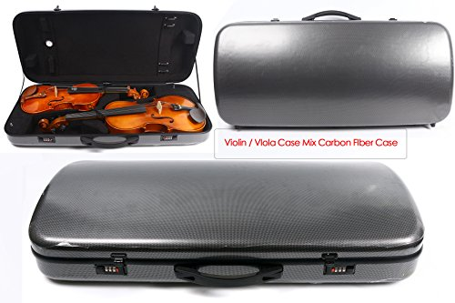 Yinfente Double Violin Case Viola Case Mixed Carbon Fiber Violin Box 4/4 Full Size (black)
