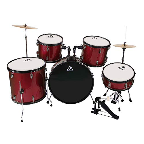 22inch 5 Piece Adults Drum Set, Les Ailes de la Voix Complete Full Size Adult¡¯s Drum Set Cymbal Child Kit with Stool Sticks Red