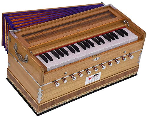 Harmonium Pro Grade By Kaayna Musicals, 11 Stops- 6 Main & 5 Drone, 3½ Octave, Natural Wood Color, Coupler, Gig Bag, Bass/Male- 440 Hz, Best for Yoga, Bhajan, Kirtan, Shruti, Mantra, Meditation, etc.