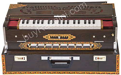 Maharaja Musicals Calcutta Harmonium, Scale Changer, In USA, Concert Quality, Triple Reed, 9 Scales – 3 3/4 Octave, Folding, Coupler, Tuned to A440, Mahogany Color, Padded Book, Bag (PDI-BGH)