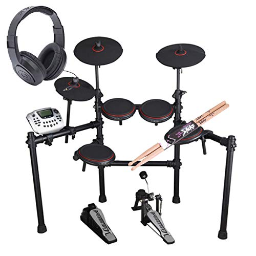 Carlsbro CSD180 8-Piece Enhanced Electronic Drum Kit with Over-Ear Stereo Headphones – Pair of Drumsticks – Top Value Bundle!