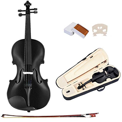 Goplus 4/4 Full Size Acoustic Violin Durable Natural Solid Wood Fiddle for Beginners and Students w/Case, Bow, Rosin and Chin Rest (Black)