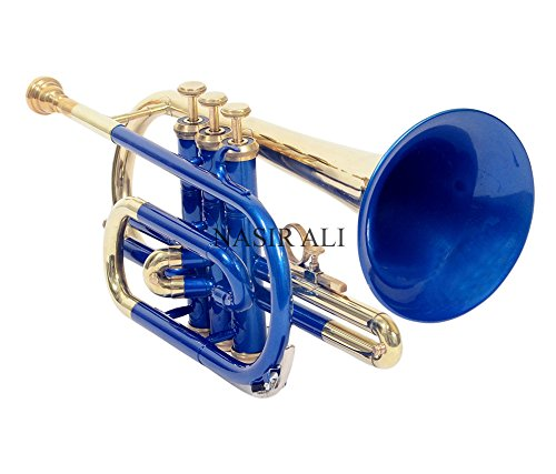 CORNET Bb PITCH BLUE COLOR + BRASS WITH FREE HARD CASE AND MP NICELY TUNED