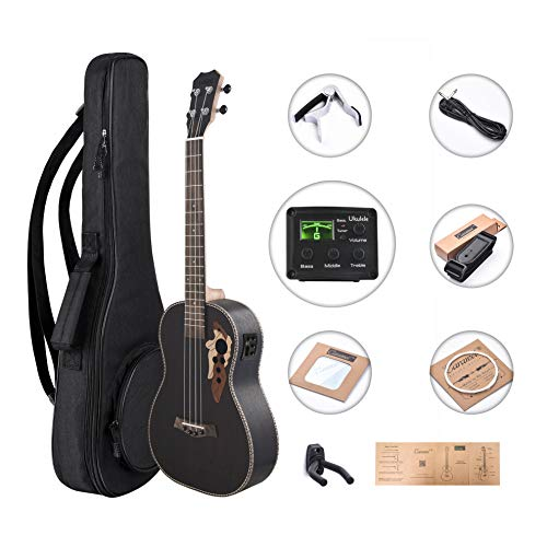 Left Handed – Caramel CB500L 30 Inch All Rosewood Baritone Acoustic Electric Ukulele With Truss Rod with D-G-B-E strings & free G-C-E-A strings, Padded Gig Bag, Strap and EQ cabel