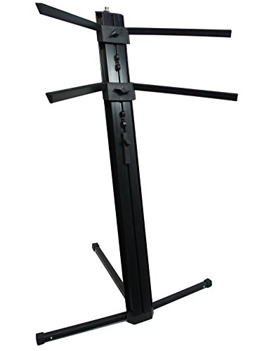 Harmony Audio HA-KEYSTAND Professional 2-Tier Column Keyboard Stand with 5/8″ Mic Mount