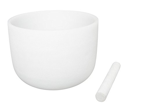 White Color Frosted Crystal Singing Bowl Note A 432Hz Brown Third Eye Chakra 8 inch Best and Highest Quality Sound & Material Suede Mallet Included