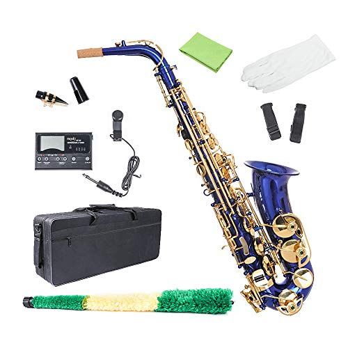 Alto Saxophone Blue, Les Ailes de la Eb Flat Alto Sax for Beginner Adults with Gloves, Cleaning Cloth Rod, Case, Mouthpiece, Carekit, Neck Strap