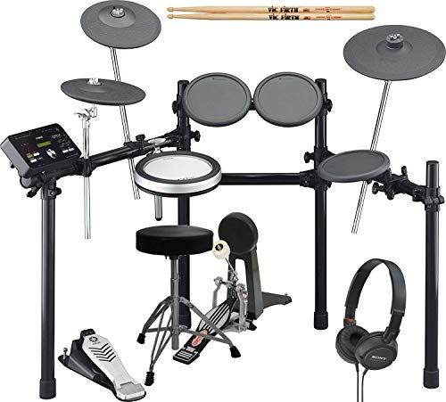 Yamaha DTX522K Electronic Drum Kit With Bass Pedal, Drum Throne, Sony Stereo Headphones, and Extra Pair of Drumsticks
