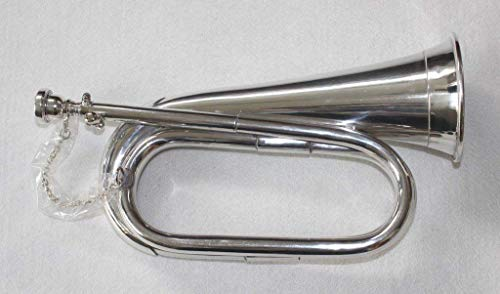 SALE – 11 PURE NICKEL SILVER Army,Military Bugle With Free Hard Case + M/P