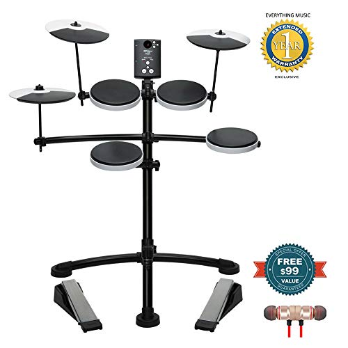 Roland Entry-level Electronic V-Drum Set (TD-1K)includes Free Wireless Earbuds – Stereo Bluetooth In-ear and 1 Year Everything Music Extended Warranty